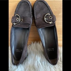 Stuart Weizman buckled loafers/ chocolate brown